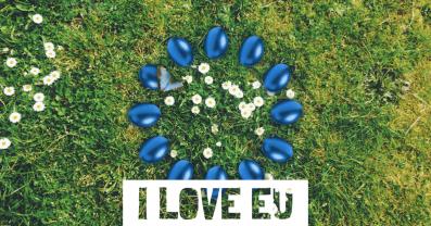 Zwölf blaue Ostereier deuten die 12 Sterne der EU-Flagge an. Sie liegen kreisförmig auf einer grünen Wiese mit weißen Gänseblümchen. Auf dem Ei, der Nummer 10 im Uhrzeigersinn, sitzt ein hellblauer Schmetterling.