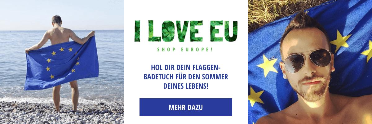 I love EU bietet ein EU-Flagge Badetuch an.