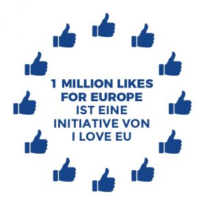 One Million Likes For Europe Logo bestehend aus zwölf Thumb up Symbolen angeordnet wie der Sternenkreis der EU-Flagge, mit dem Text in der Mitte: 1 Million Likes for Europe ist eine Initiative von I love EU