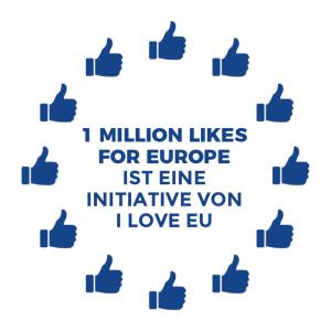 One Million Likes For Europe Logo bestehend aus zwölf Thumb up Symbolen angeordnet wie der Sternenkreis der EU-Flagge, mit dem Text in der Mitte: 1 Million Likes for Europe ist eine Initiative von I love EU