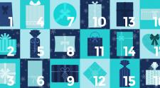 I love EU Adventskalender zeigt die Kästchen 1 bis 18. Jedes Kästchen hat einen Türkisen, Hellblauen oder Dunkelblauen Hintergrund und je ein Päckchen in einer der drei Farben darauf. Die Päckchen haben verschiedene Formen.