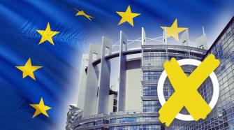Das Bild ist eine Fotomontage für die EU-Wahl 2019. Sie zeigt das Europäische Parlamentsgebäude in Straßburg, im Hintergrund befindet sich großflächig die EU-Flagge, im Vordergrund in der rechten unteren Ecke befindet sich ein weißer Kreis mit einem gelben Kreuz, das veranschaulichen soll, dass es um die EU-Wahl 2019 geht.