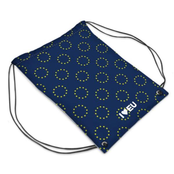 Der EU Gym Bag von I love EU mit dem Muster Rom ist Dunkelblau mit vielen gelben EU Sternenkreisen darauf. Am unteren Ende befindet sich mittig ein weißes I love EU Logo.