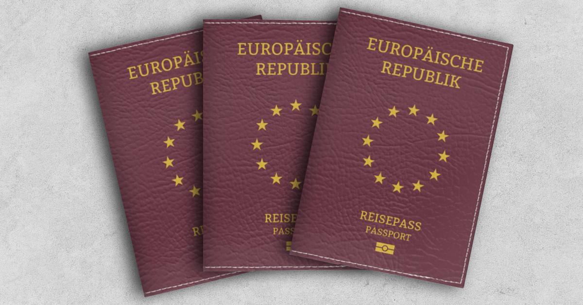 Eine Europäische Bürgerinitiative wünscht sich die dauerhafte Unionsbürgerschaft. Bis zum Reisepass der Europäischen Republik dauert es allerdings noch. Auf dem Bild sieht man drei symbolisch aufgefächerte Reisepässe der Europäischen Republik. Sie sind in Bordeux gehalten auf grauem Hintergrund.