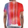 Die Rückseite des EU T-Shirt Limassol von I love EU hat einen gestreiften rot-blauen Farbenprint. Im Nackenbereich befindet sich ein weißes I love EU Logo.