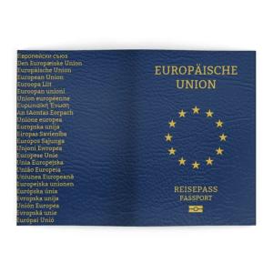 Das EU Passport Cover ist Blau. Auf der Vorderseite befindet sich in der Mitte ein goldener Sternenkreis und darüber der Schriftzug Europäische Union. Darunter befindet sich der Schriftzug Reisepass Passport und ein Symbol für den digitalen Reisepass. Auf der Rückseite befindet sich die Bezeichnung der Europäischen Union in den 24 Amtssprachen der EU.