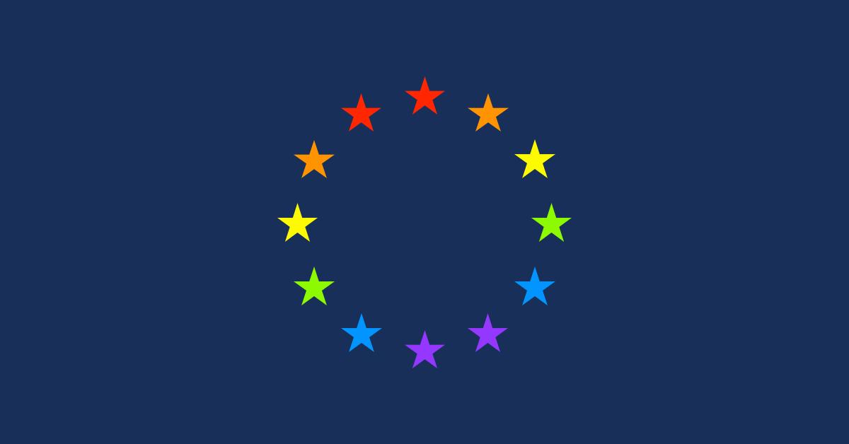 Die I love EU Grafik zeigt den EU-Sternenkreis in den sechs Pride-Farben Rot, Orange, Gelb, Grün, Blau und Violett. Der Hintergrund ist dunkelblau.