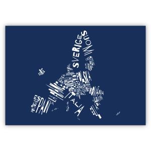Valletta Print EU 59x42 dunkelblau I love EU. Die Namen der Mitgliedstaaten stehen in Landessprache und Form des Landes in weiß auf dunkelblauem Hintergrund.