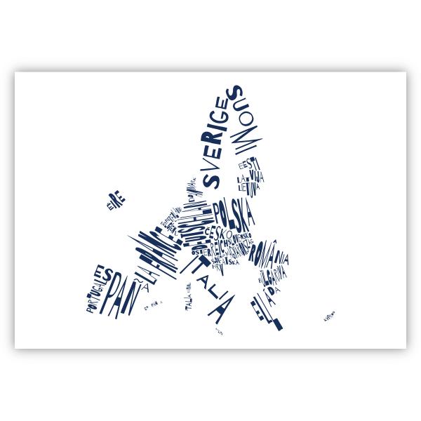 Valletta Print EU 59x42 weiß invert blau I love EU. Die Namen der Mitgliedstaaten stehen in Landessprache und Form des Landes in blau auf weißem Hintergrund.