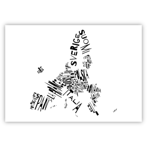 Valletta Print EU 59x42 weiß invert schwarz I love EU. Die Namen der Mitgliedstaaten stehen in Landessprache und Form des Landes in schwarz auf weißem Hintergrund.