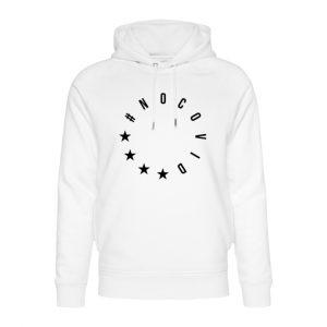 Weißer NoCovid Hoodie mit schwarzem #NoCovid-Print in Form des EU-Sternenkreis angeordnet