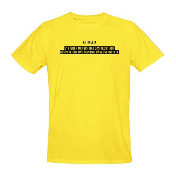 Die Vorderseite des NoCovid T-Shirt ist gelb mit schwarzem Text im Brustbereich. Darauf ist Artikel 3 der Charta der Grundrechte der Europäischen Union zitiert. Artikel 3 (1) Jeder Mensch hat das Recht auf körperliche und geistige Unversehrtheit.