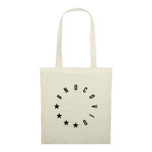 Naturfarbene NoCovid Tragtasche mit schwarzem #NoCovid-Print in Form des EU-Sternenkreis angeordnet